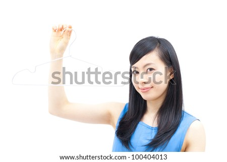 young woman holding hanger, isolated on white background - stock photo