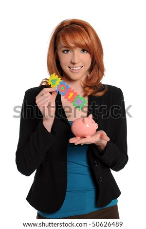 Young woman holding 401K sign and piggy bank isolated over white background - stock photo