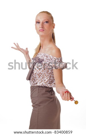 Young woman holding lollipop - stock photo