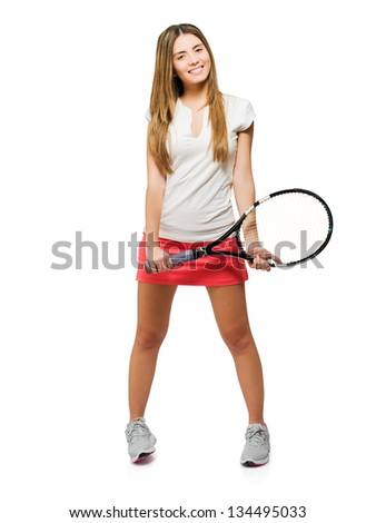 Young Woman Holding Racket Isolated On White Background - stock photo