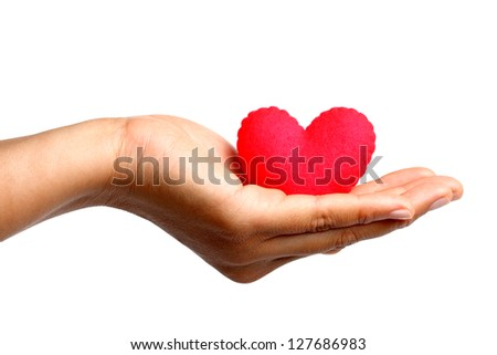 Young Woman Holding  Red Heart - stock photo