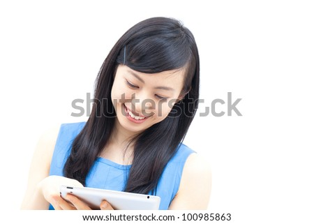 Young woman holding  tablet computer, isolated on white background - stock photo