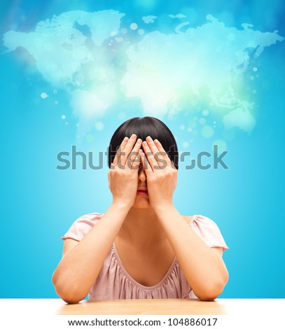 Young woman imaging and dreaming about trip - stock photo