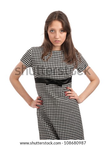 young woman in a dress - stock photo