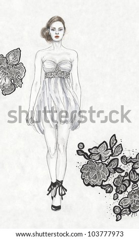 Young woman in a grey dress - stock photo