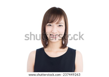 young woman in black dress isolated on white background - stock photo