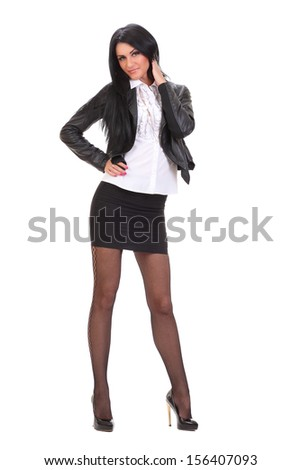 young woman in black leather jacket  - stock photo