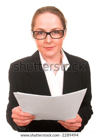 Young woman in business suite and glasses with papers in her hands looking to the camera isolated on white - stock photo