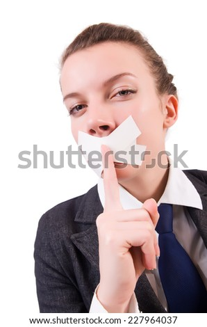 Young woman in censorship concept - stock photo