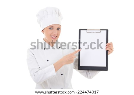 young woman in chef uniform holding clipboard with blank paper isolated on white background - stock photo