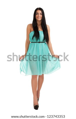 Young woman in cute dress - stock photo