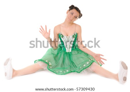 Young woman in doll posing on white background - stock photo