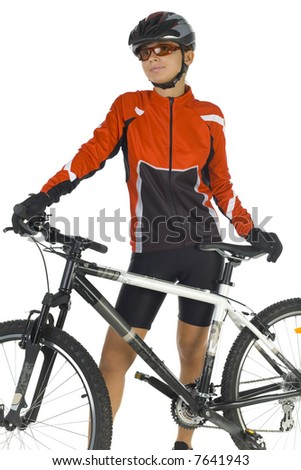 Young woman in helmet and sunglasses, standing with mountain bike. Smiling and looking at something. White background, front view - stock photo