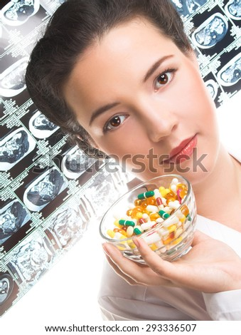 Young woman in medicine smoke and with pill's - stock photo