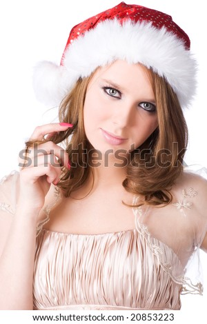 Young woman in santa hat portrait. Isolated on white. - stock photo