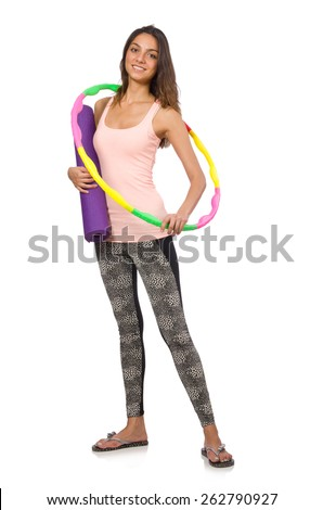 Young woman in sports concept isolated on white - stock photo