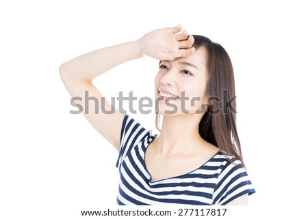 young woman in striped clothing, isolated on white background - stock photo