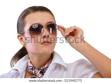 Young woman in sun glasses, isolated on white background. - stock photo