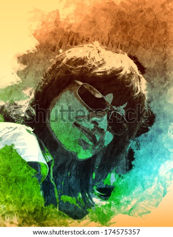 young woman in sun glasses portrait - stock photo