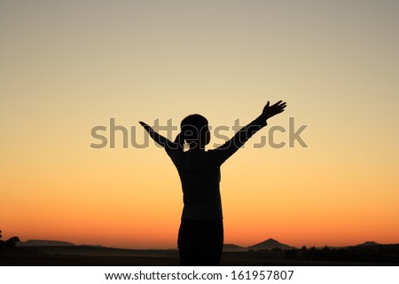 Young woman in sunset silhouette - stock photo