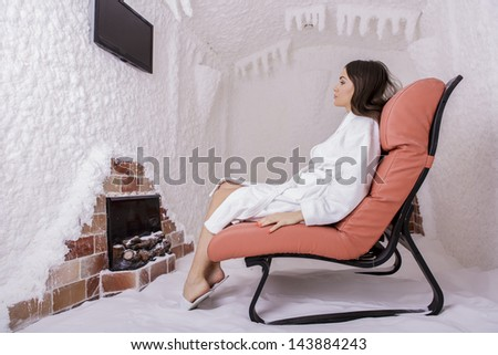 Young woman in the salt room - stock photo