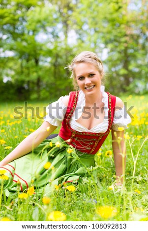 Young woman in traditional Bavarian clothes - dirndl or tracht - on a meadow in spring - stock photo