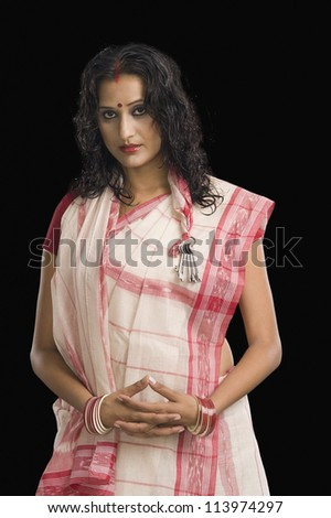 Young woman in traditional Bengali dress - stock photo