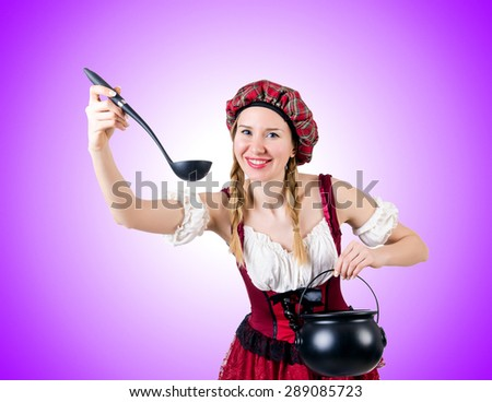 Young woman in traditional german costume - stock photo