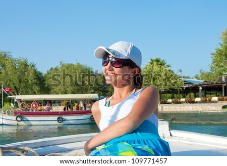 Young woman in travel, Dalyan, Turkey - stock photo