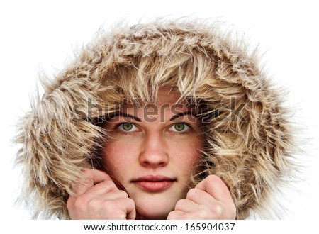 Young woman in warm soft clothes. - stock photo