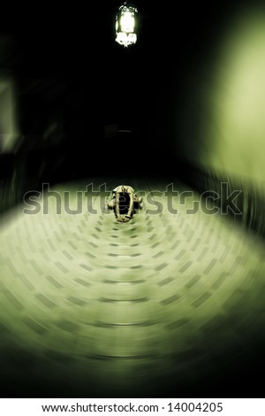 Young woman in white dress on the floor - stock photo