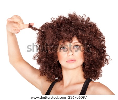 Young woman in wig Isolated on white background - stock photo
