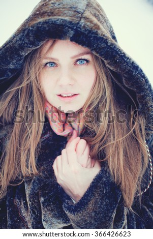 young woman in winter - stock photo