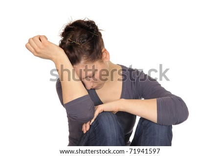 young  woman is exhausted - stock photo