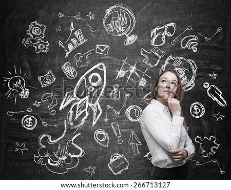 Young woman is thinking about future education opportunities - stock photo
