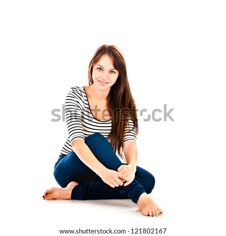 young woman isolated on a white background - stock photo