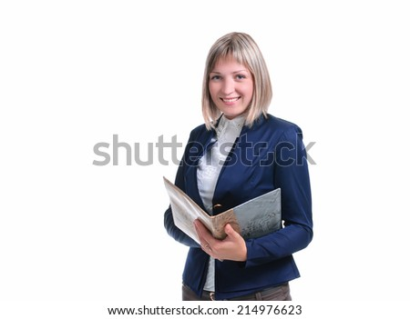 young woman isolated on white background in the form of teacher - stock photo