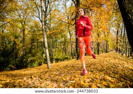 Young woman jogging in beautiful fall nature and leaves - stock photo
