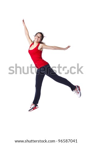 Young woman jumping with exercise clothes(isolated on white) - stock photo