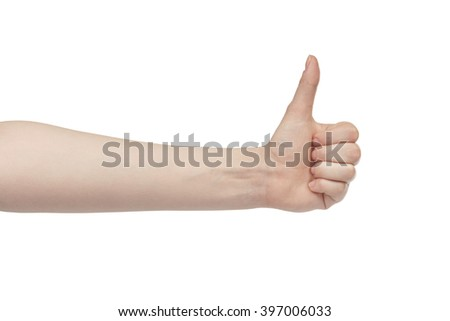 young woman left hand shows thumb up gesture, isolated on white - stock photo