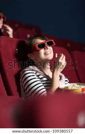 Young woman like a 3D movie - stock photo