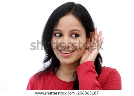 Young woman listening gossip  - stock photo