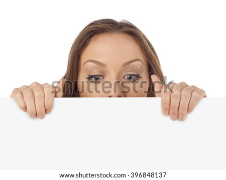 Young woman looking down - stock photo