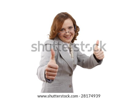 Young woman looking into the camera while giving an ok gesture with her forward hand. Happiness girl shows OK . Business lady. Successful business woman wear glasses. Isolated on white background. - stock photo
