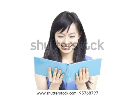young woman looking photo album, isolated on white background - stock photo