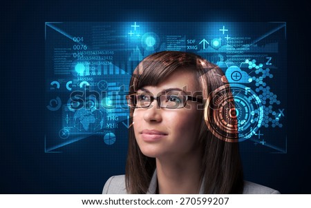 Young woman looking with futuristic smart high tech glasses concept - stock photo