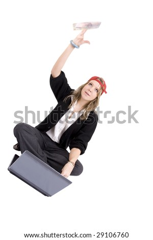 Young woman losing online flinging money (British twenty pound) in the air. Money is not in focus. - stock photo