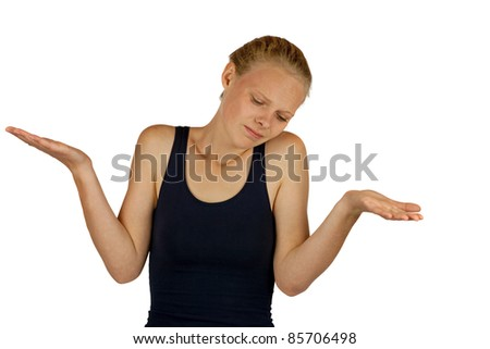 Young woman making do not know sign on white background - stock photo