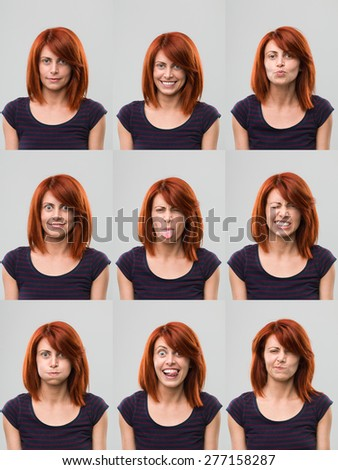 young woman making facial expressions - stock photo