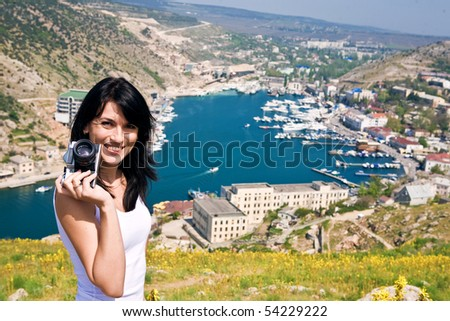 Young woman on vacation - stock photo